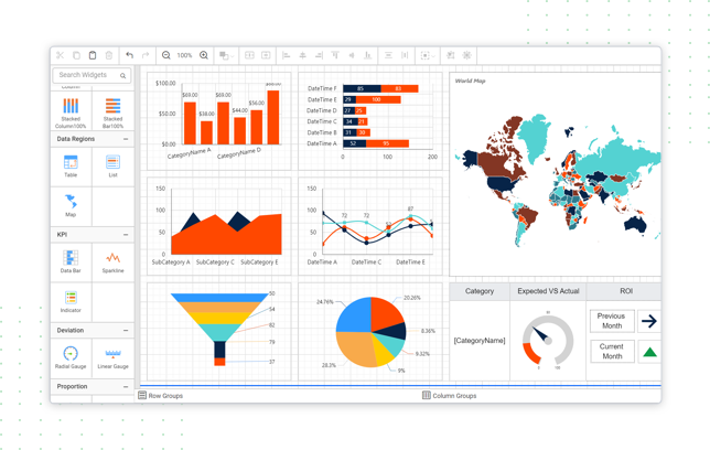 Create stunningly beautiful reports with eye-popping data-visualization