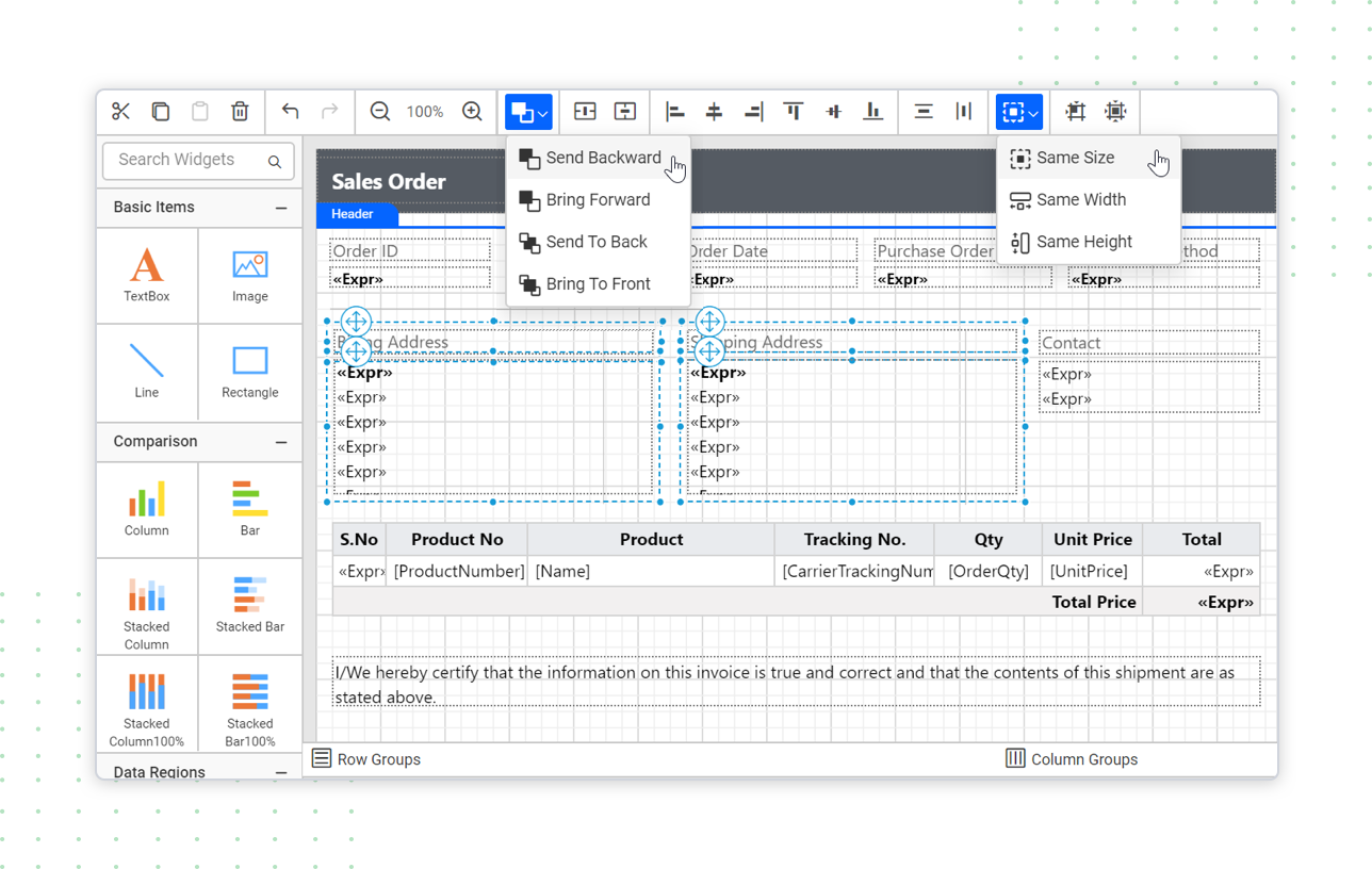 Standalone report designer's user-centric inteface