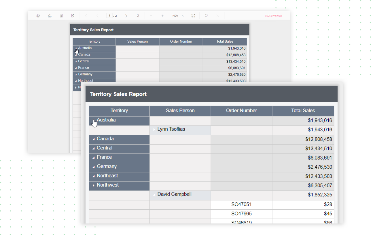 Expand/collapse the territory sales detail using toggle behavior