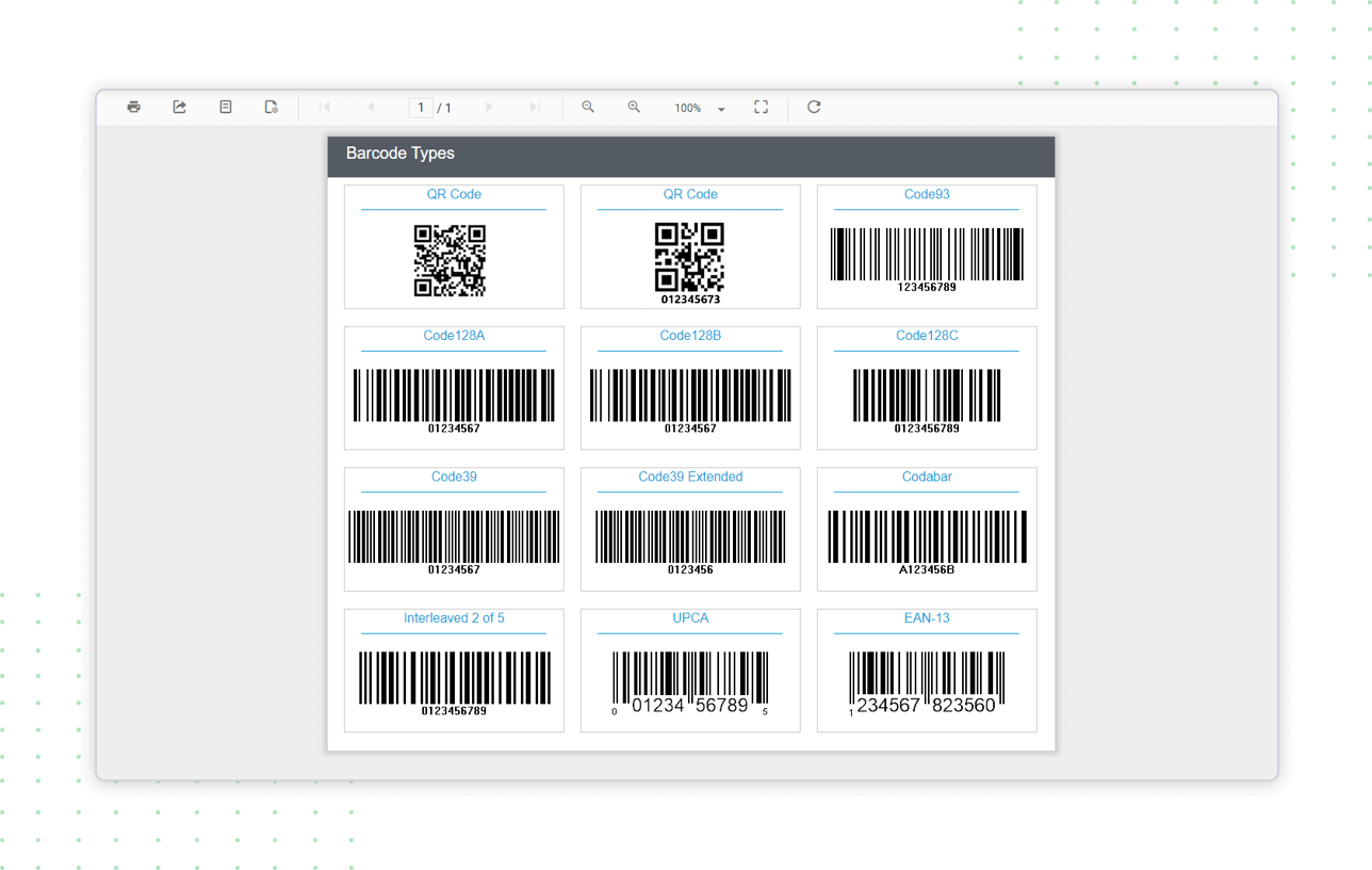 Barcode types are displayed in Report Viewer using custom report item extension