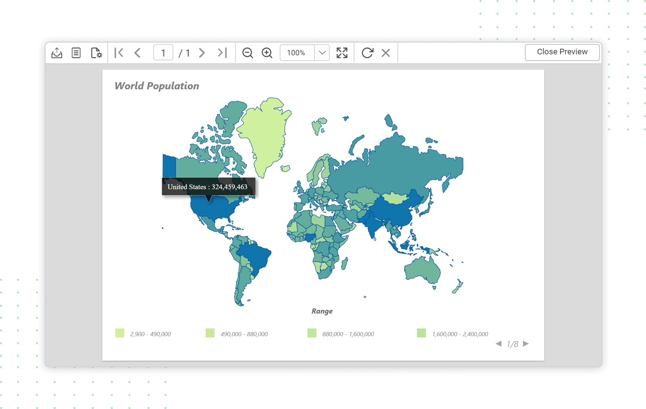 Report Viewer shows world population using map report item