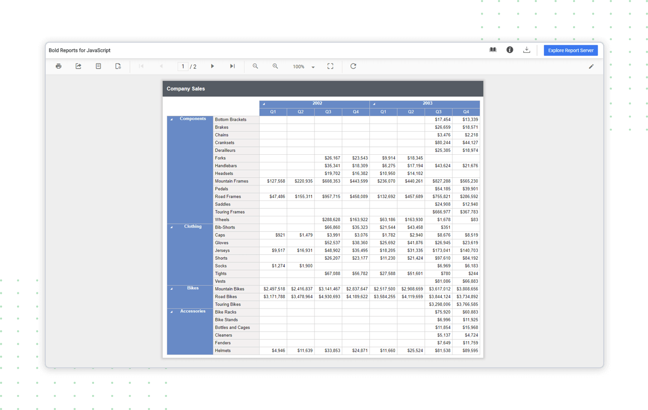 Report Viewer shows table, matrix, list report item