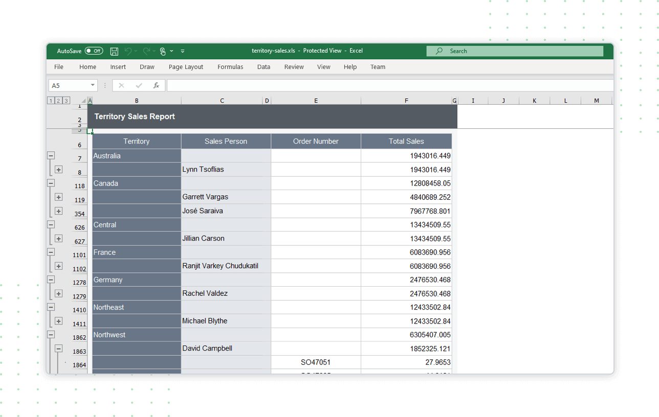 Toggle and interact  with excel exported reports